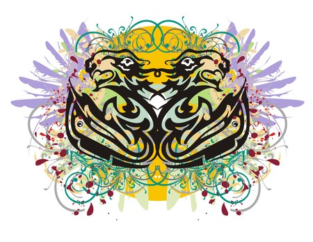 textural: Grunge stylized fishes and lions heads. Two twirled fishes whose tails are formed by the aggressive lions and eagle heads, with colorful splashes against the background of an orange circle