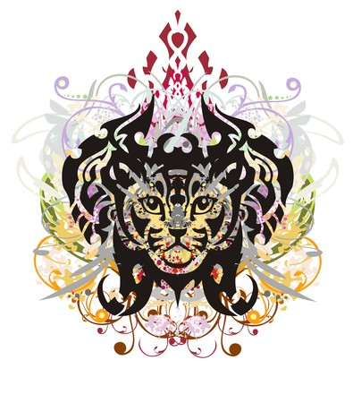 textural: Grunge tribal cat head against the background of the eagle heads. Colorful floral cat head splashes with blood drops