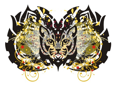 twirled: Abstract tribal butterfly splashes. Grunge butterfly with the cats head and blood drops
