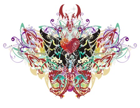 twirled: Butterfly wings splashes. Grunge tribal festival butterfly formed by colorful floral splashes and the heads of horses Illustration