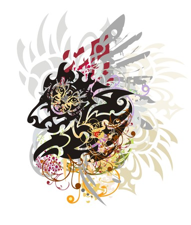 growling: Grunge tribal lion head. The growling lions head with colorful floral splashes and feathers, an eagle wing and cats head Illustration