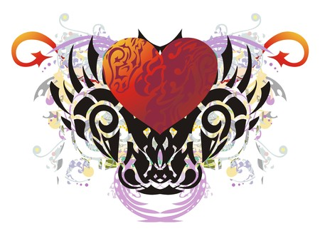 Tribal colorful imaginary animal head splashes. Grunge imaginary animal head with big red heart, floral elements and red arrows