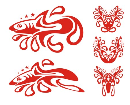asterisks: Tribal red shark symbols with drops. Stylization of a shark with blood drops and asterisks, double symbols of a shark Illustration