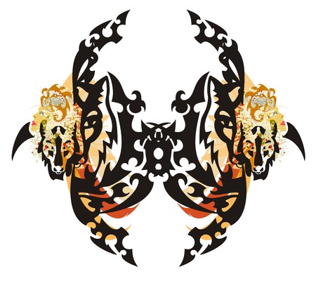 twirled: Tribal awful butterfly. Grunge butterfly stylization formed by halves of a muzzle of a fox with splashes in womans faces and colorful stripes
