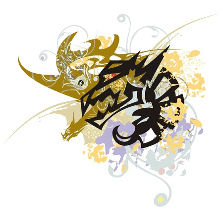 winged dragon: Grunge stylized dragon symbol. Tribal aggressive dragon head with an open jaw against colorful splashes in a winged dragon Illustration