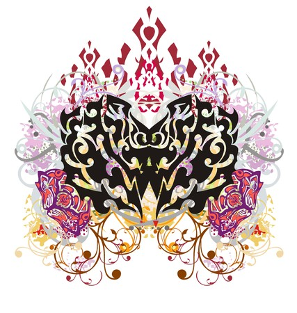 Grunge butterfly wings. Tribal butterfly with colorful floral elements and the wolf heads