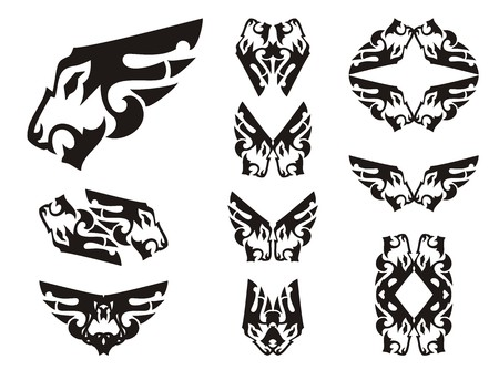 tshirt designs: Aggressive lion head symbols in the form of a wing. Tribal peaked lion head set, great for vehicle graphics, tattoos, stickers and T-shirt designs. Ready for vinyl cutting