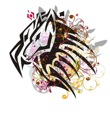 Grunge peaked wolf head symbol. Tribal wolf head formed by the head of an eagle with gray feathers, floral elements and colorful drops