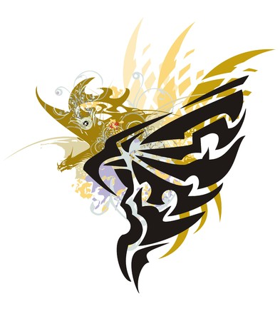 Grunge peaked eagle with gold winged dragon. Stylization of the eagle head with an open wing with orange feathers and a gold aggressive dragon Illustration