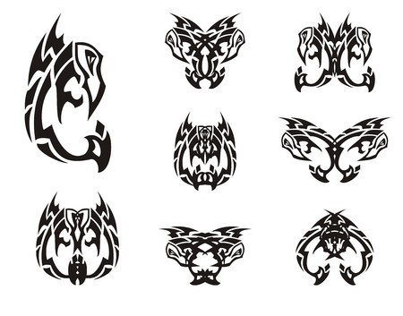 awful: Peaked eagle symbols in tribal style. Black and white eagle stylization and double symbols formed from him