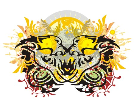 Two lion heads against the ornate sun. Growling lions heads with colorful floral splashes, blood drops and the decorative sun