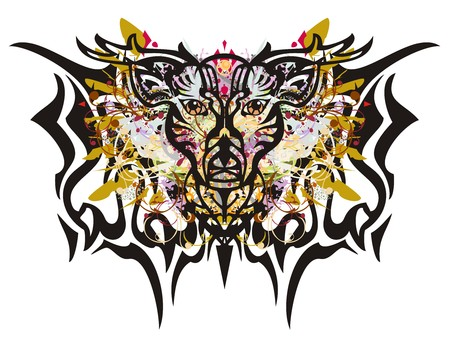 Deer butterfly splashes. Grunge mystical butterfly of a deer with colorful floral elements and eagle feathers Illustration