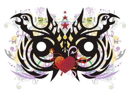 Grunge tribal unusual owl head. The stylization of the head of an owl formed by the eagle heads with floral splashes, red heart, arrows and asterisks Illustration