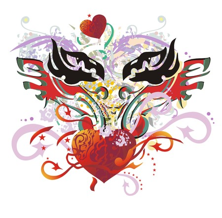 Grunge flaming eagle heart splashes. The heads of eagles with open wings against red heart with arrows, asterisks and the floral twirled elements Illustration