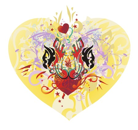 Ornate eagle heart. The heads of eagles with open wings against red heart with arrows, asterisks and the floral twirled elements. Tribal eagles against the background of big decorative orange heart Illustration