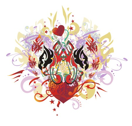 Grunge double eagle heart splashes. Tribal eagles heads with open wings against red heart with arrows, red asterisks, floral twirled elements, gold wings