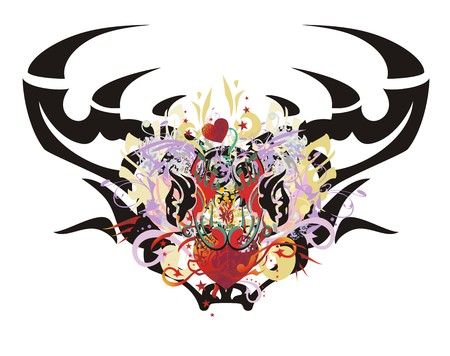 color tribal tattoo: Grunge deer head. Tribal deer head formed by the eagle heads and red heart with floral splashes, arrows and asterisks