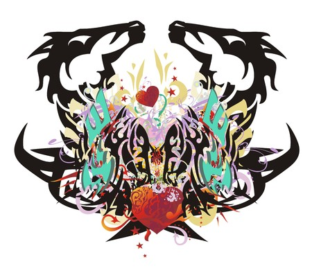 Grunge unusual eagle-horse symbol. Double imaginary animal symbol with red hearts with arrows, red asterisks, gold eagle wings and colorful floral twirled elements