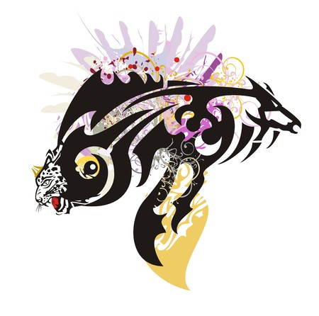 Abstract fish symbol. Tribal fantastic symbol in the form of fish formed by the leopard head and the horse head with colorful floral splashes and feathers