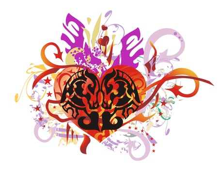 Grunge ornate horse heart. Decorative red heart with the image of the horse heads with splashes, arrows and asterisks by St. Valentines Day