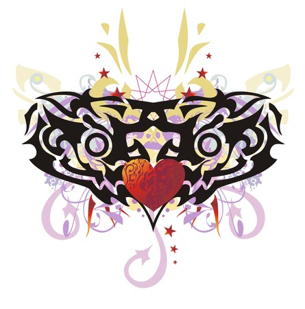 Decorative heart splashes, Tribal abstract heart with colorful floral elements, arrows and asterisks Illustration