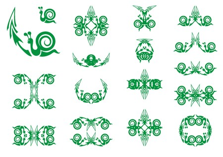 long recovery: Green symbols of a snail with an arrow. Slow business growth financial symbols as a snail with an arrow for the concept of sluggish profit gains or the economy slowly recovering