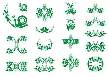 화살표와 달팽이의 녹색 기호입니다. 부진한 이익 증가 또는 느리게 회복되는 경제의 개념에 대한 화살표가있는 달팽이와 같은 느린 사업 성장 금융 기호