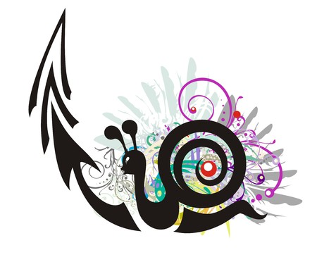 Black snail symbol with an arrow in grunge style. The snail aspiring up with floral elements and colorful feathers - slow business growth financial symbol