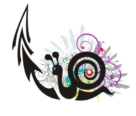 그런 지 스타일에서 화살표와 함께 검은 달팽이 기호. 꽃 요소와 화려한 깃털을 갈망하는 달팽이 - 느린 비즈니스 성장 금융 기호