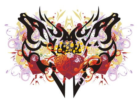 Butterfly splashes with red hearts. Mystic butterfly created by the horse heads against red hearts with arrows, red asterisks, floral twirled elements, colorful drops, gold wings