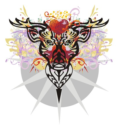 Grunge deer head with red hearts. Decorative deer head against red heart with arrows, red asterisks, floral twirled elements, gold wings and gray star in a circle