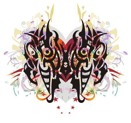 Grunge decorative butterfly floral splashes. Fantastic striped dangerous butterfly against red heart with arrows, red asterisks, colorful drops, gold wings