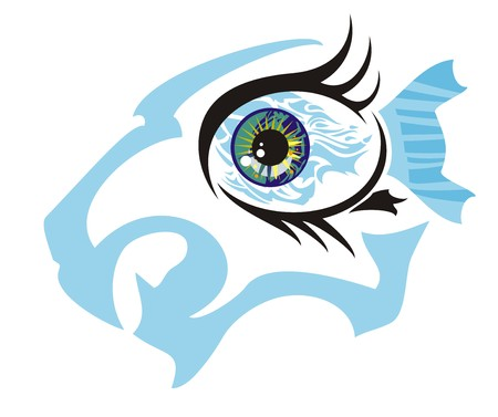 appearance: Fish eye concept against aggressive lion head. An abstract eye symbol - the furious blue lions head and fish inside Illustration