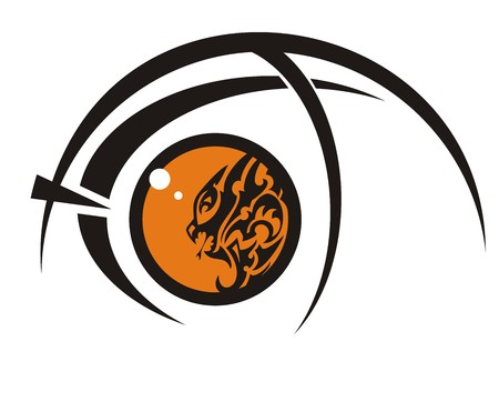 An orange dragon eye in the fish form. The eye of fish created by an aggressive young dragon