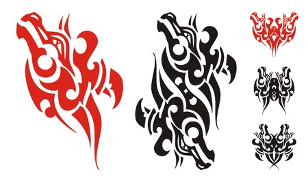 Freakish horse head symbol and symbols formed from it. Tribal unusual butterfly tattoo and double wavy horse head created from flaming horse head