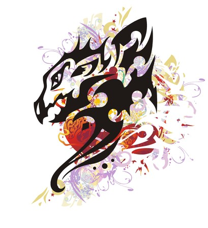 Colorful floral dragon splashes with red heart. Mystic young winged dragon head against red hearts with arrows, red asterisks, colorful drops, gold wings
