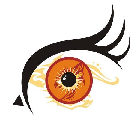 Oko ptaków. Fantastyczne ogromne, pomarańczowe oko w kształcie głowy ptaka