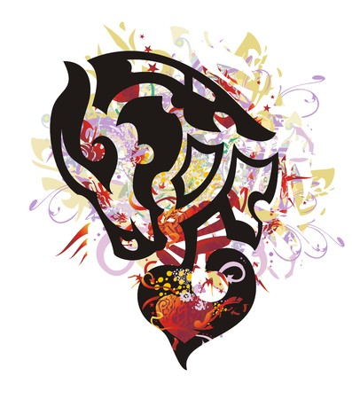 Grunge ornate horse head with red heart. Mystic young horse head against red hearts with arrows, red asterisks, colorful drops, gold wings Illustration