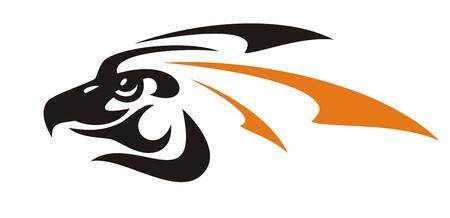 Eagle head symbol. Vector eagle icon formed by arrows in black-orange tones