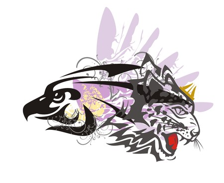 Eagle and leopard symbol. Tribal imaginary animal formed by the eagle head and the aggressive leopard head in grunge style great for vehicle graphics and T-shirt designs