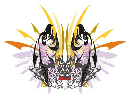 Grunge imaginary butterfly. Tribal imaginary butterfly with colorful arrows formed by the eagle heads and the aggressive leopard heads in grunge style great for vehicle graphics and T-shirt designs