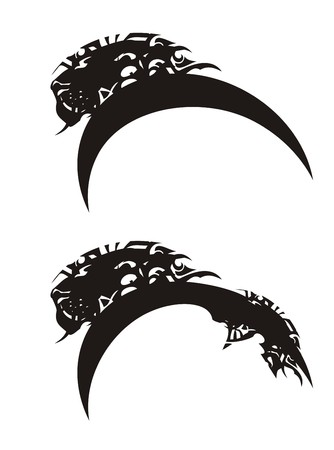 Two lion symbols. Stylization of the lions head ready for a tattoo, an engraving, an embroidery, an emblems and another Illustration