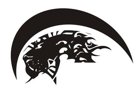 Tribal lion head emblem. Lions symbol. Black on white