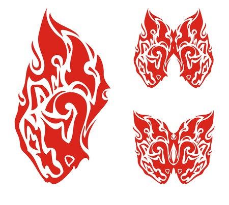 stately: Lion head in the fire form and butterflies from it. Stylization of the lions head and butterfly, created by the lions heads in the form of fire, for your design