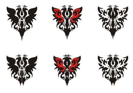 双頭の鷲のシンボル。赤黒トーンの王冠紋章鷲アイコン