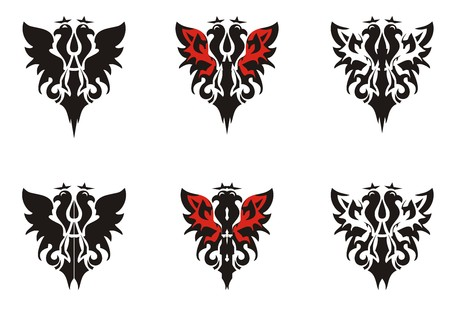 Two-headed eagle symbols. Heraldic eagle icons with crowns in red-black tones Illustration