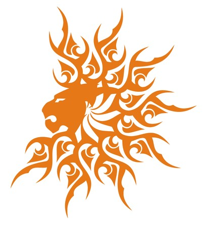 Sunny lion head symbol. The lions head in the form of the sun