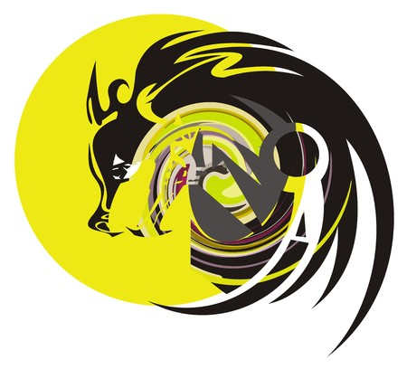 Wolf and moon. Colorful symbol of howling wolf at the full moon Illustration