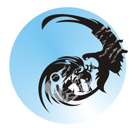 Wolf and eagle in a circle. Abstract eagle and wolf symbol against the background of the earth