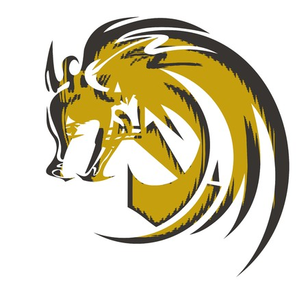 Peaked wolf symbol. Ferocious wolf head in black and gold tones ready for a tattoo, stickers, emblems, an engraving, an embroidery, t-shirts designs and another Illustration